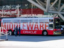Bus for attendees of Oracle OpenWorld conference transportation. SAN FRANCISCO, CA, USA - SEPT 18, 2005: Bus for attendees of Oracle OpenWorld conference Royalty Free Stock Photography