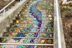 Mosaic stairway, San Francisco in 16th Avenue Tiled StepsMosaic stairway, San Francisco in 16th Avenue Tiled Steps royalty free stock photography