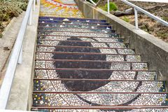 Mosaic stairway, San Francisco in 16th Avenue Tiled StepsMosaic stairway, San Francisco in 16th Avenue Tiled Steps royalty free stock image