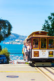 San Francisco Cable Car Alcatraz Hyde Peak Drop V Stock Photography