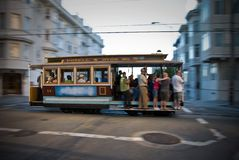 San Francisco cablecar in motion Royalty Free Stock Photos