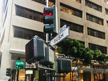 San francisco, california, america. 04/05/2019 walking in china town in san francisco. Look in too the city of san francisco, traffic lights, people, cars, and royalty free stock image