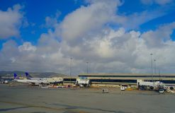 SAN FRANCISCO, CALIFORNIA - APRIL 13, 2014: United Airlines planes at the Terminal 3 in San Francisco International Stock Image