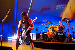 Metallica at Moscone Center 2011. San Francisco, California - August 31 2011 - Metallica plays the Salesforce.com Dreamforce 2011 convention in Moscone Center Royalty Free Stock Photo