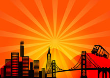 San Francisco California City Skyline Clipart. San Francisco California City Skyline and Golden Gate Bridge Illustration royalty free illustration