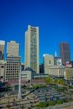 San Francisco, California - 11 febbraio 2017: Bello punto di vista di Dewey Monument in Union Square nel popolare e Fotografia Stock Libera da Diritti