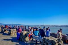 San Francisco, California - 11 febbraio 2017: Punto di vista scenico dei turisti che trascurano San Francisco dalla vista del nor Fotografie Stock Libere da Diritti