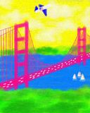 San Francisco California Golden Gate Bridge Abstract Painting Royalty Free Stock Photo
