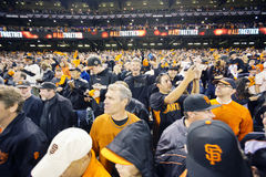 San Francisco, California, los E.E.U.U., el 16 de octubre de 2014, AT&T parquea, el estadio de béisbol, SF Giants contra St Louis Imagenes de archivo