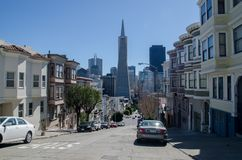 Skyline of Downtown areas of San Francisco. SAN FRANCISCO, CALIFORNIA - MARCH 1, 2015: Skyline of Downtown areas of San Francisco royalty free stock image