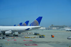 SAN FRANCISCO, CALIFORNIA - MAY 11, 2017: United Airlines planes at the Terminal in San Francisco International Airport Stock Images