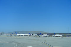 SAN FRANCISCO, CALIFORNIA - MAY 11, 2017: United Airlines planes at the Terminal in San Francisco International Airport Royalty Free Stock Photography