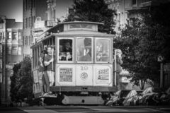 Cable Car 19 traveling uphill in San Francisco stock photo