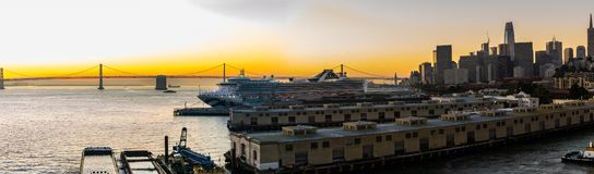 The Grand Princess Cruise Ship docked at the San Francisco Cruise Port stock photography