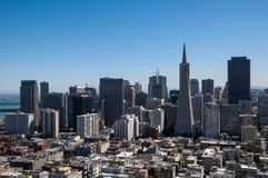 View of the Financial District from Coit Tower in San Francisco. With clear blue sky Stock Images