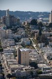 SAN FRANCISCO, CALIFORNIA - SEPTEMBER 9, 2015 - View of Lombard Street from Coit Tower royalty free stock photos