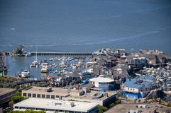 SAN FRANCISCO, CALIFORNIA - SEPTEMBER 9, 2015 - View of Pier 39 from Coit Tower stock photography