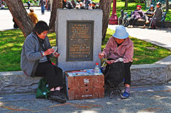 San Francisco, California, United States of America, Usa. Chinese women play cards in Portsmouth Square on June 15, 2010.  Portsmouth Square is a park in the Royalty Free Stock Photography