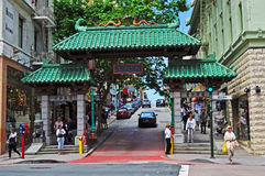 San Francisco, California, United States of America, Usa. The Dragon's Gate in Chinatown on June 15, 2010. The Dragon's Gate, an archway donated by Taiwan in Stock Image