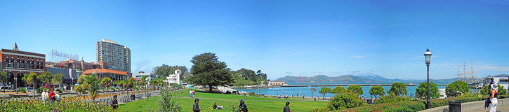 San Francisco, California, United States of America, Usa. Fort Mason Park and Ghirardelli Shop on 9 June 2010. Ghirardelli Ice Cream and Chocolate Shop is the royalty free stock photo