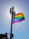San Francisco, California, United States of America, Usa. Rainbow flag in Castro on June 15, 2010. Castro is one of the first gay neighborhoods in Usa. The stock photo