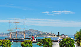 San Francisco, California, United States of America, Usa. A sailing ship at East Harbor at Fisherman's Wharf on 9 June 2010. Fisherman's Wharf is one of the most stock image