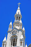 San Francisco, Saints Peter and Paul Church, bell tower, cross, catholicism, California, United States of America, Usa. Saints Peter and Paul Church on June 8 Stock Photo