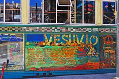 San Francisco, California, United States of America, Usa. The sign and windows of Vesuvio Cafe on June 12, 2010. The 1948 Vesuvio Cafe is a historic bar stock images