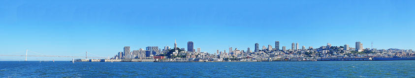 San Francisco, skyline, bay, skyscraper, California, United States of America, Usa, bay, Pacific Ocean. Skyline, panoramic view of the city and the Bay on 7 June Royalty Free Stock Image
