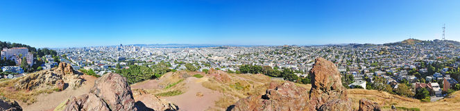 San Francisco, skyline, Corona Heights, hill, hilltop, aerial view, California, United States of America, Usa. Skyline and view from the hilltop of Corona royalty free stock images