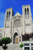 San Francisco, Grace Cathedral, rose window, architecture, Nob Hill, episcopal, California, United States of America, Usa. View of the Grace Cathedral on June 7 Stock Photography