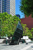 San Francisco, public monument, ship, glass, Yerba Buena Gardens, California, United States of America, Usa. The work Green Glass Ship in front of the Moma Royalty Free Stock Images