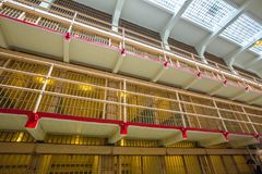 Alcatraz San Francisco. San Francisco, California, United States - August 14, 2016: Alcatraz main cells on three levels. All the cells are single for the best Stock Photos