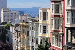 San Francisco. California, United States - beautiful old architecture in Nob Hill area Stock Photos