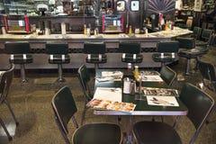 San Francisco, California, United States - circa 2016 - 1950s retro diner cafe with stools, counter juke box stock photography