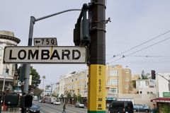 SAN FRANCISCO, CALIFORNIA, UNITED STATES - NOV 25th, 2018: Street sign of Lombard street, best know as the most crooked