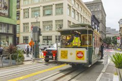Passenger riding on a famous San Francisco cable car Stock Image