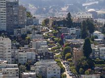 San Francisco, California, USA: Lombard Street, steep hill, hairpin turns. San Francisco, California, USA - July 2018: Lombard Street, steep hill, hairpin turns stock photography