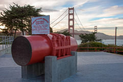 San Francisco, California, USA - June 19, 2014: Section of the rope bridge Golden Gate in San Francisco stock photography