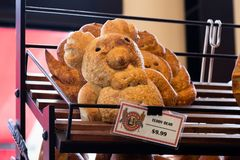 Boudin Bakery, San Francisco, California, whimsical teddy bear animal shaped sourdough bread stock photos