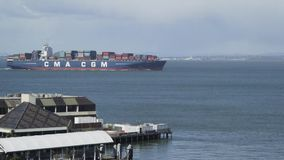 San Francisco, California, USA - March 2016: Cargo ship in the waters of San Francisco Bay stock footage