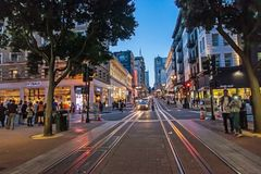 Night street downtown and famous Cable Car in san francisco. SAN FRANCISCO ,CALIFORNIA,USA - MAY 1, 2015 : Night street downtown and famous Cable Car near Union stock images