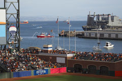 San Francisco, California, USA, October 16, 2014, AT&T Park, baseball stadium, SF Giants versus St. Louis Cardinals, National Leag Royalty Free Stock Photography