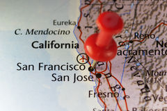 San Francisco California USA pinned map Stock Image