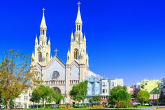 Saints Peter and Paul Church in San Francisco stock image