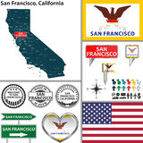 San Francisco, California. Vector set of San Francisco, California in USA with flag and icons on white background Royalty Free Stock Image