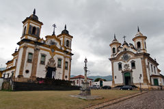 San Francisco and Carmo Churches Mariana Brazil Stock Photos