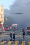 San Francisco - casas no incêndio Fotos de Stock