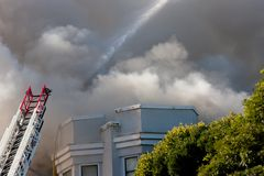 San Francisco - casas no incêndio Fotos de Stock Royalty Free