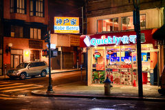 San Francisco Chinatown Store en la noche Imágenes de archivo libres de regalías